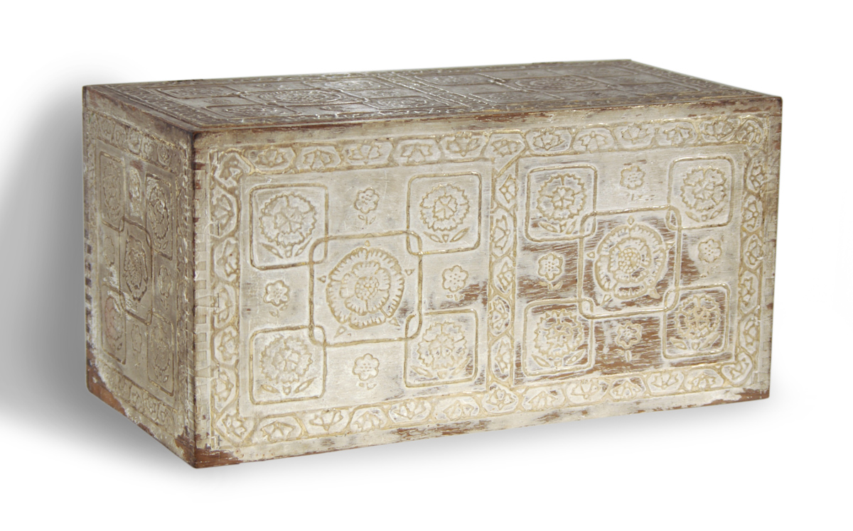 Gesso covered box with overlapping designs