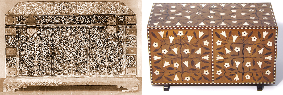 An inlaid box from India on the left and an inlaid box designed  by Gimson on the right