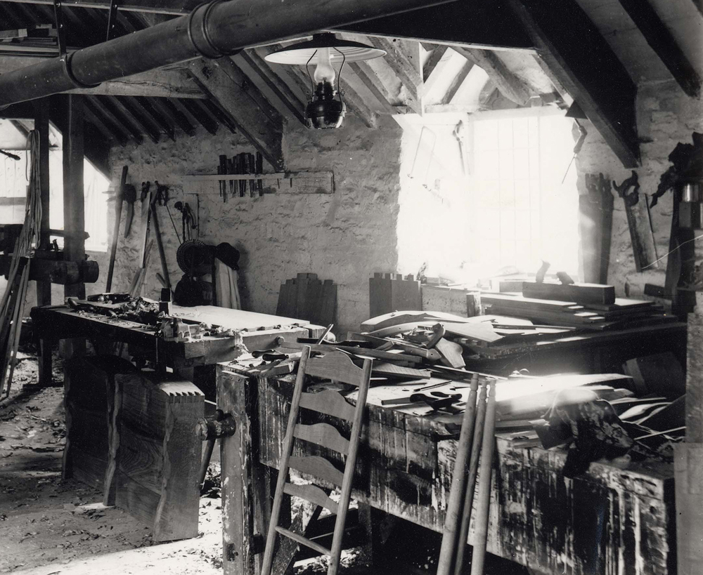 Pinbury workshop showing a parts of a chair made by Gimson