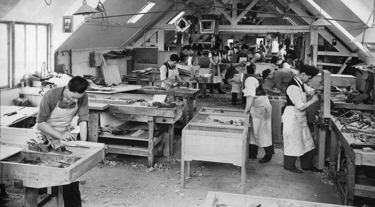 Furniture making at Russell & Sons workshop, Broadway in Worcestershire, about 1926