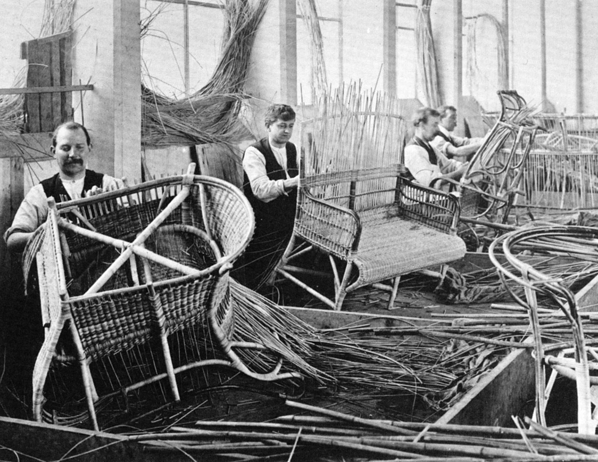 Cane furniture being made at the Dryad Works