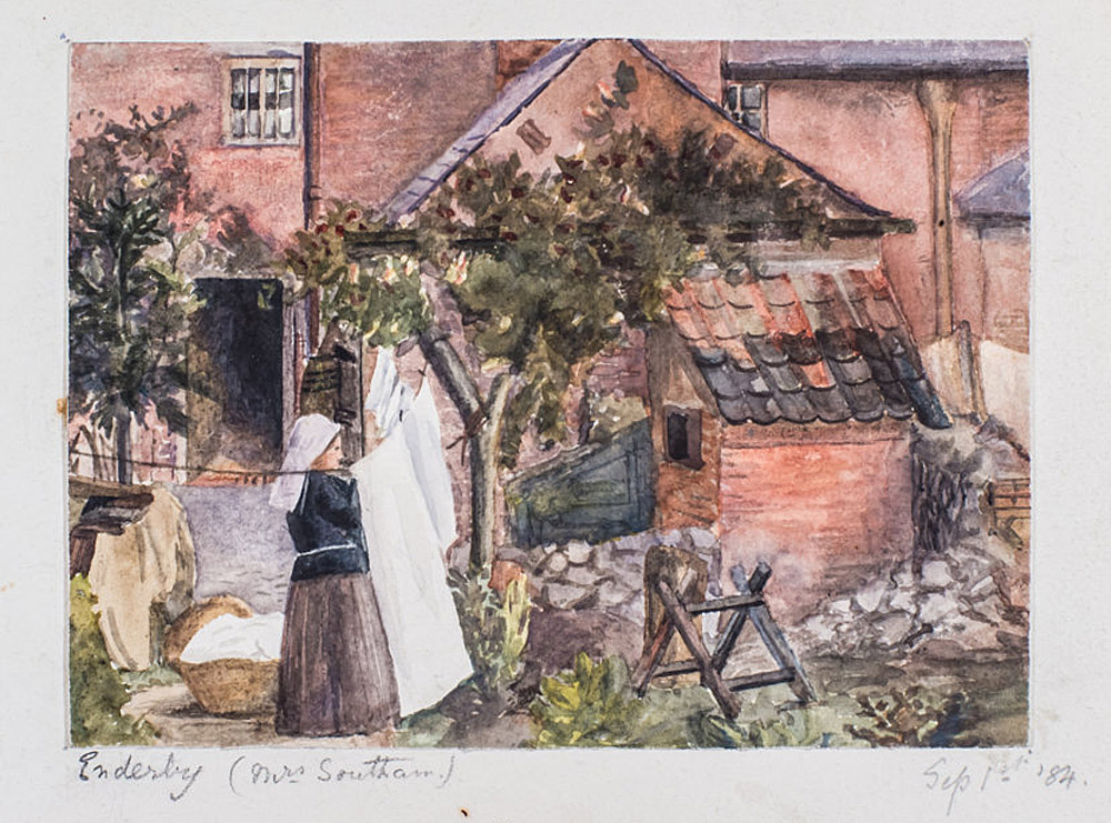 Mary's early sketchbook, 'Enderby, Mrs Southam', watercolour, 1884