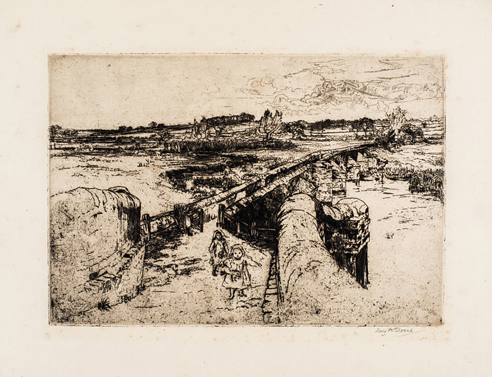 'Aylestone Packhorse Bridge'. Etching, 1902. Private collection.
