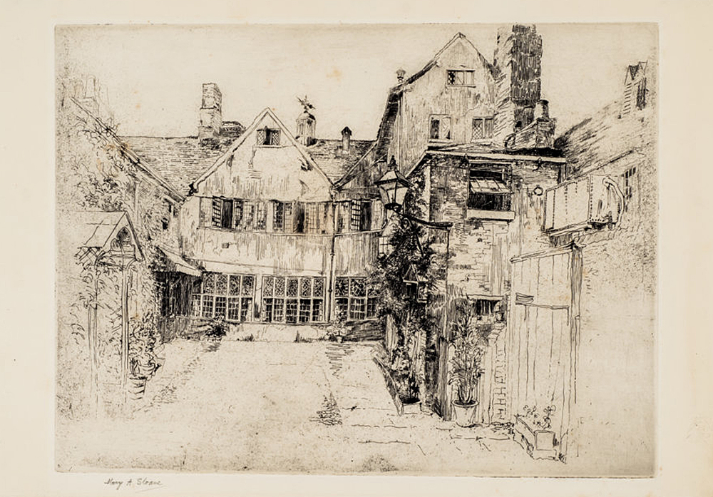 'Guildhall Courtyard, Leicester'. Etching, from around 1902. Leicester Arts & Museums Service collection.