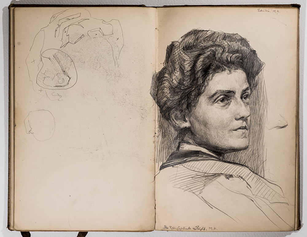 Portrait of Rev. Gertrude von Petzold. Pencil, around 1904. Private collection