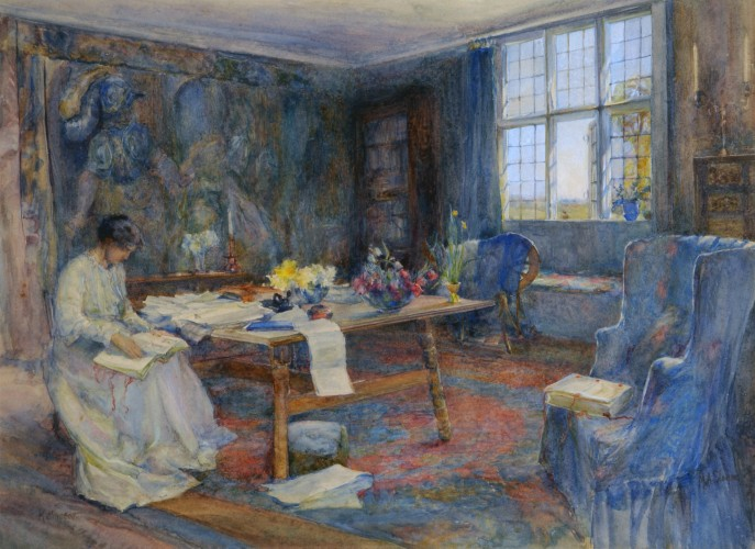 'May Morris in the Tapestry Room, Kelmscott Manor'. Watercolour, 1912. William Morris Gallery, London Borough of Waltham Forest.