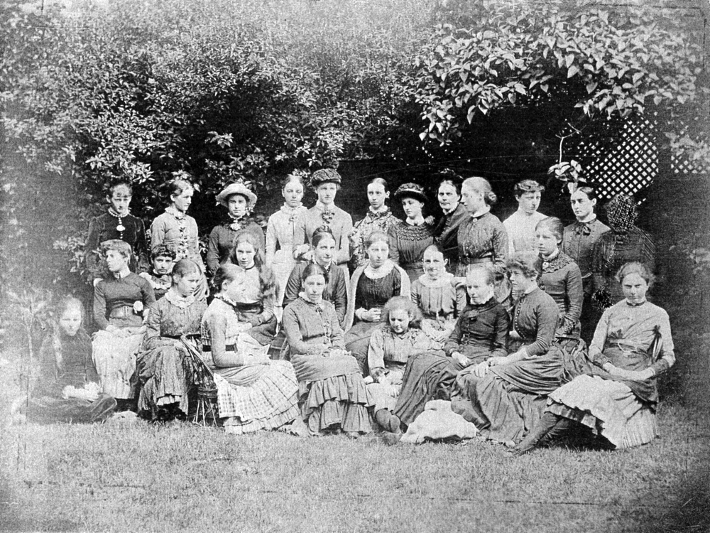 Early photograph of Belmont House School, c.1885, showing students and teachers.  Mary is seated third from left, front row (No. 23 in the key). Private collection.