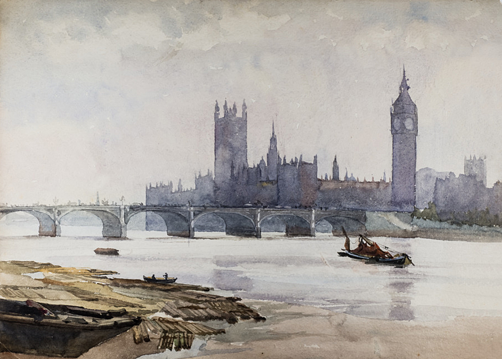 Untitled, (Houses of Parliament from the River). Watercolour, undated, from around 1890s. private collection.